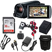 Canon VIXIA HF R800 3.28MP Full HD CMOS Sensor, 57x Advanced Zoom, Fast & Slow Motion Recording + SanDisk 16GB Storage + Gorillapod Tripod + Point and Shoot Pouch