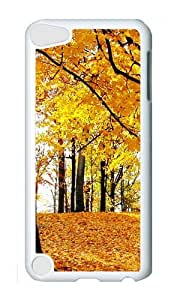 Ipod 5 Case,MOKSHOP Cool Nature Golden Leaves Hard Case Protective Shell Cell Phone Cover For Ipod 5 - PC White