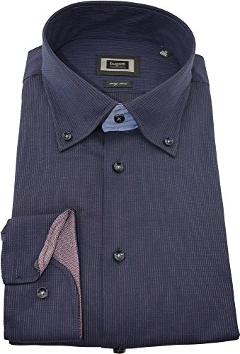 bugatti Hemd modernfit dunkelblaues Hemd mit Druck langarm Button-Down Kragen ohne Tasche Size M