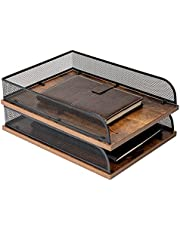$23 » Set of 2 Vintage Wood & Metal Letter Tray,Desk Organizers Paper Tray,Office File Organizer(Black)