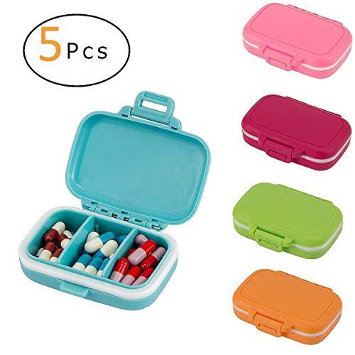 ANPHSIN Pack of 5 Small Pill Box Supplement Case- Moisture Resistant Pill Organizer with Secure Closure