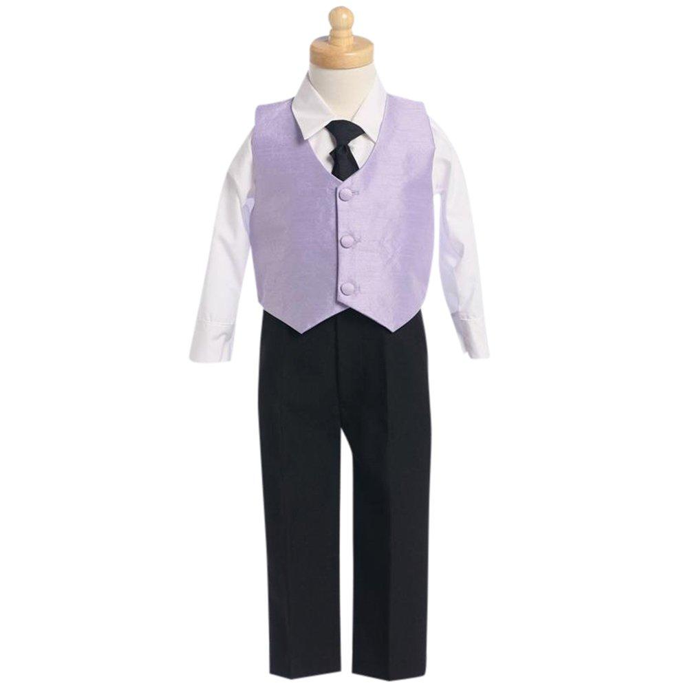 HBDesign Boys'4 Piece 3 Button Slim Trim Fit Casual Vest Purple