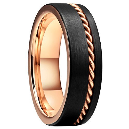 King Will Rose Gold Wirerope Inlay 7mm Black Tungsten Carbide Wedding Ring Band for Unisex(8)