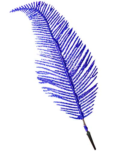 Feather Christmas Ornaments (Clip On Christmas Ornament Glitter Feathers | Set of 6 (Peacock Blue Glitter))