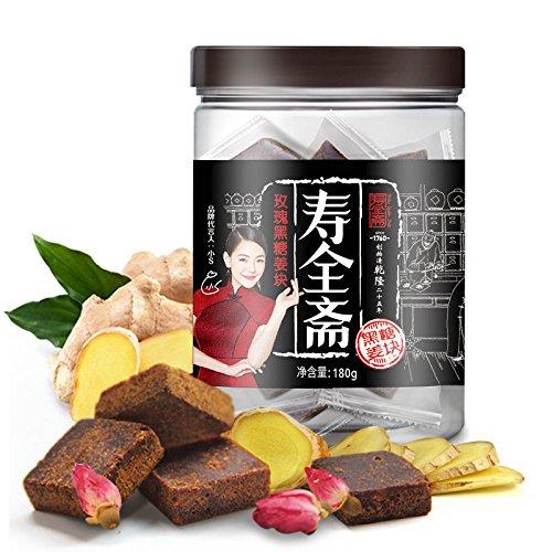 Rose Brown Sugar Ginger Tea Herbal 中国茶饮 姜汁黑糖姜茶块姜母茶生姜红糖姜茶 寿全斋 玫瑰黑糖姜块180g/罐 Chinese Ltd ()