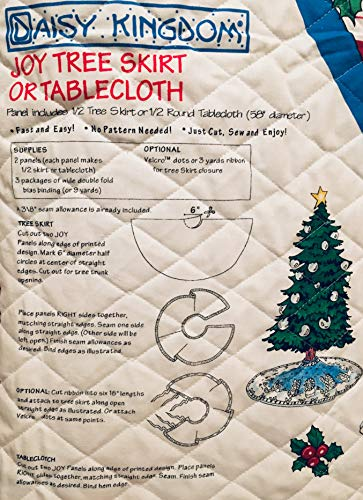(DAISY KINGDOM Joy Tree Skirt or Table Cloth Pre-Quilted Fabric Panel J-O-Y Candy Cane & Snowman)