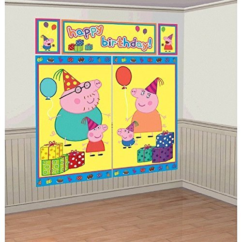 Scene Birthday Party - Peppa Pig Kids Party Scene Setter Wall Decorations Kit - Kids Birthday and Party Supplies Decoration