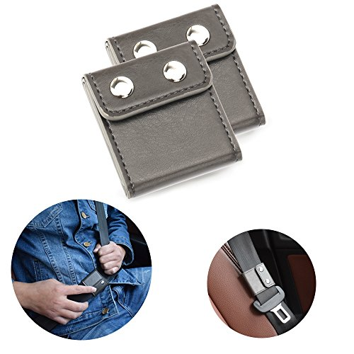 Seatbelt Adjuster, Aikee Comfort Seat Belt Covers, Universal Auto Shoulder Neck Protector Strap Positioner Locking Clip for Adults/Kids - 2 Pack Grey