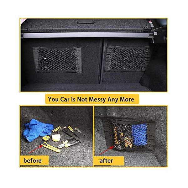 51IX0nl gLL NETUME Netztasche Auto Kofferraum Organizer Klett, 2 Stück Elastische Kofferraumtasche Netz Rücksitztasche Auto für…