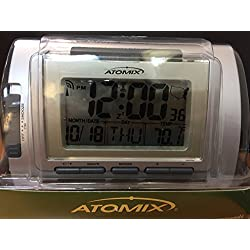 Atomix(R) Digital Radio-Controlled Desk Clock With Alarm, Metallic Silver