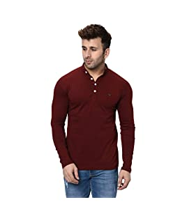 Fashitude Men's Solid Mandarin Collar Full Sleeve T-Shirt (Medium, Maroon)