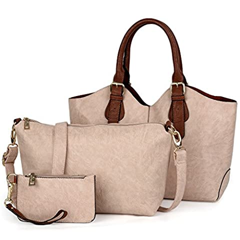 UTO Women Handbag Set 3 Pieces Bag PU Leather Tote Small Shoulder Purse Bags Wallet Strap Apricot