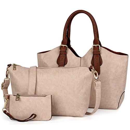 UTO Mujer bolso de mujer conjunto 3 piezas de bolsa de cuero PU bolso de hombro pequeño bolso monedero correa de la cartera de color rosa Albaricoque