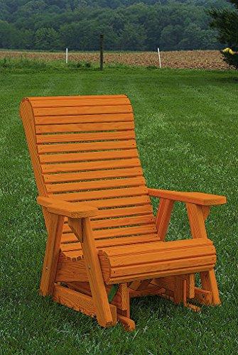 Furniture Barn USA Pressure Treated Pine Outdoor High Comfort Roll Back Chair Glider - Cedar - Cedar High Glider Back