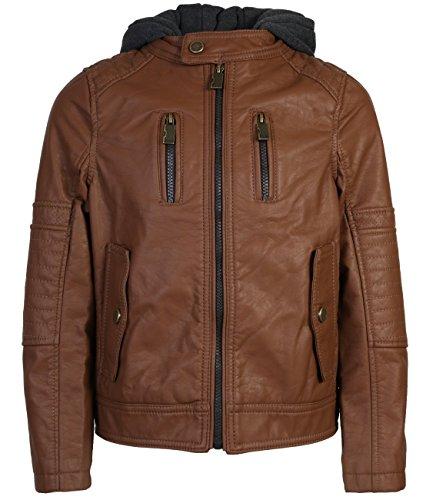 4' Collar (Urban Republic Boys Faux Leather Biker Jacket, Cognac w/Flap Pocket, 4')