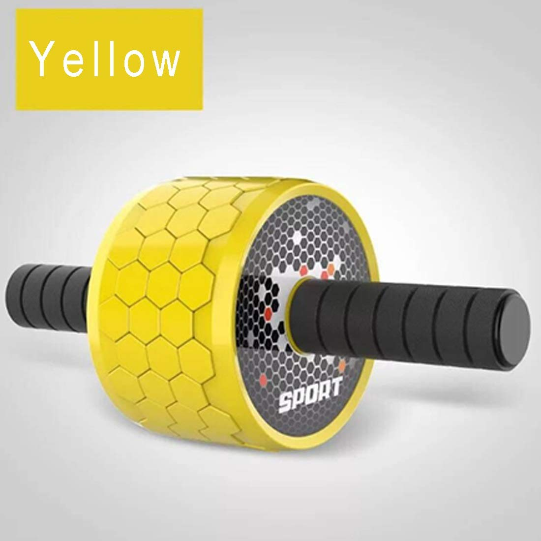 Sugoishop Wheel Roller Kit AB Roller Pro with Push-Up Bar, Jump Rope and Knee Pad Perfect Abdominal Core Carver Fitness Workout (Color : Yellow)