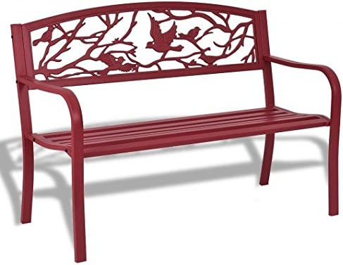 Red Steel and cast iron Outdoor Bench