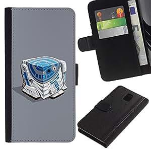 APlus Cases // Samsung Galaxy Note 3 III N9000 N9002 N9005 // De ciencia ficción caracteres azul blanco pitido Película // Cuero PU Delgado caso Billetera cubierta Shell Armor Funda Case Cover Wallet Credit Card