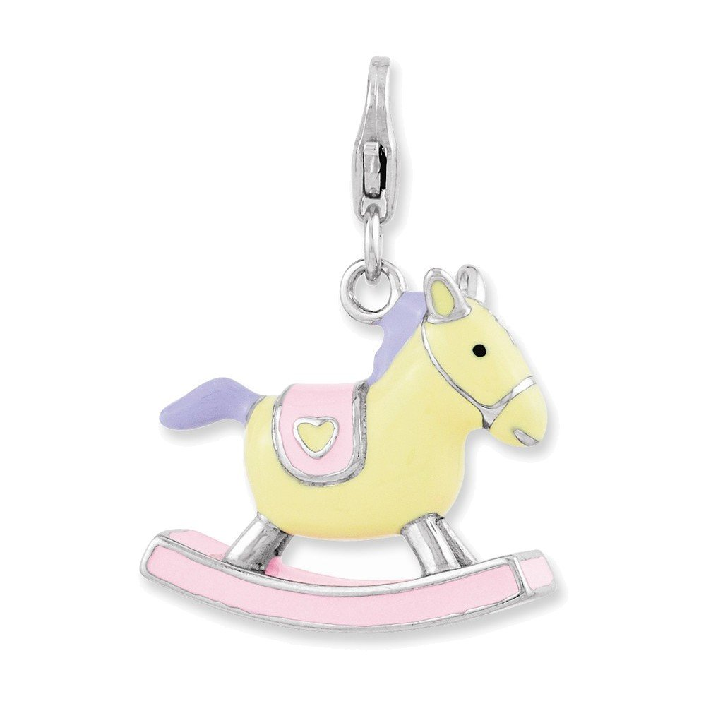 Jewelry Adviser Sterling Silver Enameled 3-D Rocking Horse w//Lobster Clasp Charm