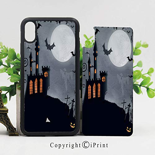 iPhone X Case Slim Fit, Halloween Themed Asymmetric Caste with Scary Bats and Ghosts Full Moon Shockproof Impact Resistant Drop Protection Protective TPU,Black Grey