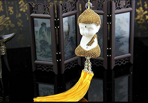 Fashion Car Mirror Pendant Car Interior Decor Buddha Hanging Ornament Car Interior Decoration Car Accessories (Gold)