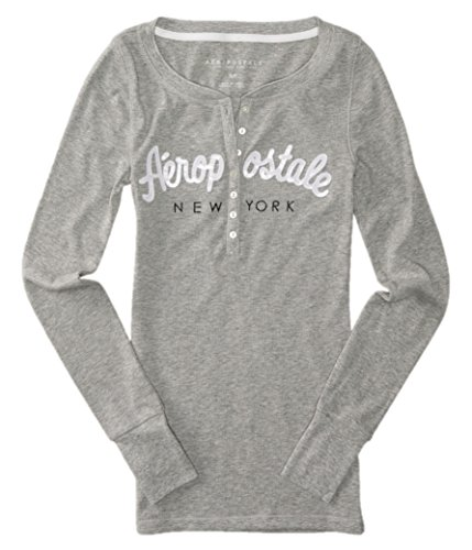 Printed Thermal Henley - Aeropostale Womens Bling Sequin Thermal Henley Shirt X-Large Gray