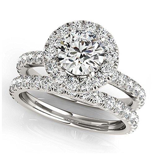 14K White Gold Unique Wedding Diamond Bridal Set Style MT50838