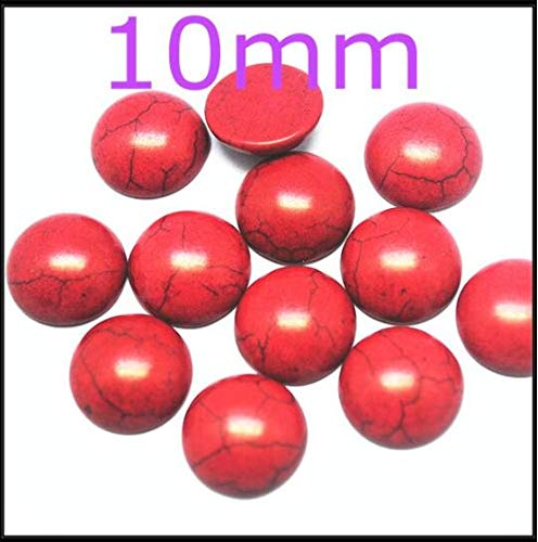 Pukido 20pcs Natural Black Onyx Stone cabochons Beads cabs no Hole Price Size 10mm Carnelian Tiger Eye red Stone Sodalite - (Color: red Turquoise)