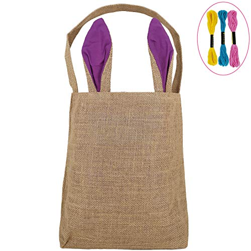 Easter Bunny Eggs Baskets for Kids with DIY Cross-Stitch Line, Personalized Bunny Ears Tote Bags Design with Burlap Material, Perfect for Easter to Carry Eggs Gifts (Purple) Y046PR ()