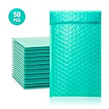 TONESPAC 50 Pack #000 4x8 Poly Bubble Mailers Padded Envelopes Shipping Bags with Waterproof Foam and Self Seal Strip - Teal / Cyan