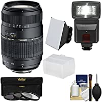 Tamron 70-300mm f/4-5.6 Di LD Macro 1:2 Zoom Lens (BIM) with 3 Filters + Flash & 2 Diffusers + Kit for Nikon D3200, D3300, D5200, D5300, D7000, D7100, D610, D800, D810, D4s DSLR Cameras