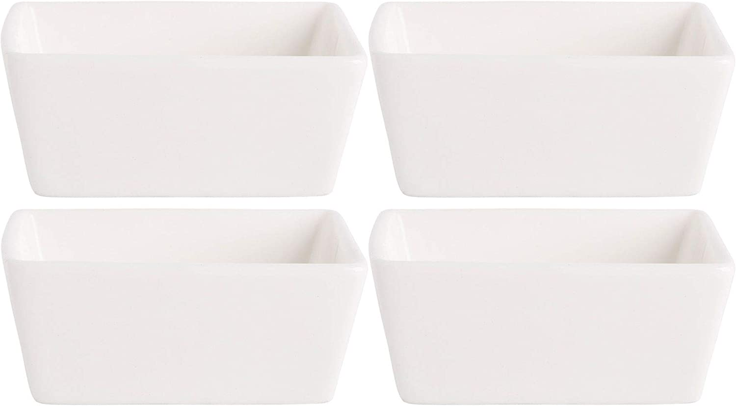 Home Essentials 15241 Fiddle and Fern Square Mini Taster Bowls, Set of 4, 5 Oz