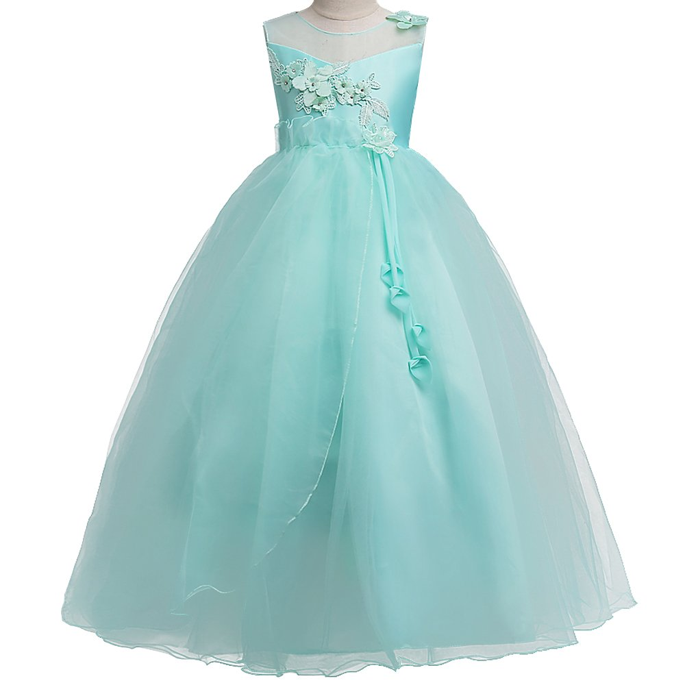 Amazon.com: HUANQIUE Girls Wedding Bridesmaid Dresses Flower Girl ...