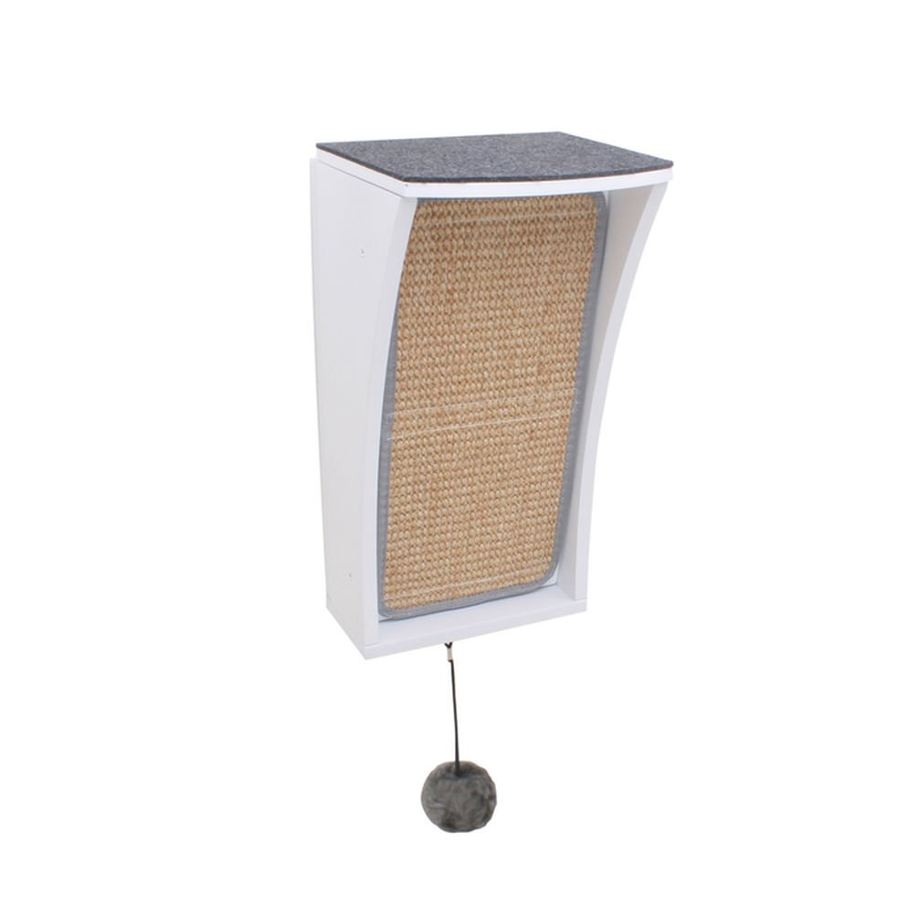 Hauspanther Collection by Primetime Petz Catchall Wall-Mounted Cat Scratcher with Toy Storage and Perch