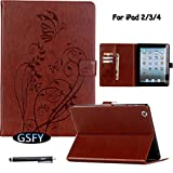iPad 2 3 4 Case, Newshine Butterfly & Flower PU Leather Magnetic Closure Flip Kickstand Wallet Smart Case with Card Slots Auto Wake Up/Sleep Feature for Apple iPad 2/iPad 3/iPad 4 (Brown)