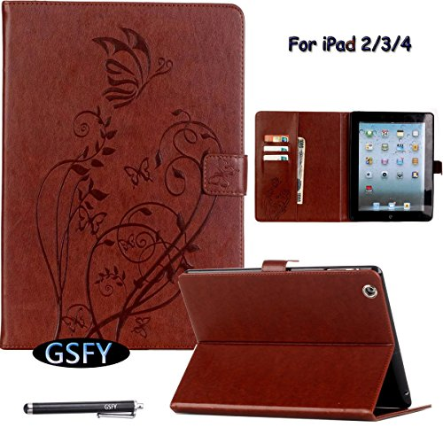 iPad 2 3 4 Case, Newshine Butterfly & Flower PU Leather Magnetic Closure Flip Kickstand Wallet Smart Case with Card Slots Auto Wake Up/Sleep Feature for Apple iPad 2/iPad 3/iPad 4 (Brown) by NewShine