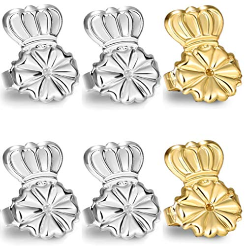 Original Magic Earring Lifters and Earring Backs - 3 Pairs of Hypoallergenic Adjustable Earring Lifts - Easy to Use, Perfect for Drooping Earrings (2 Silver & 1 Gold)