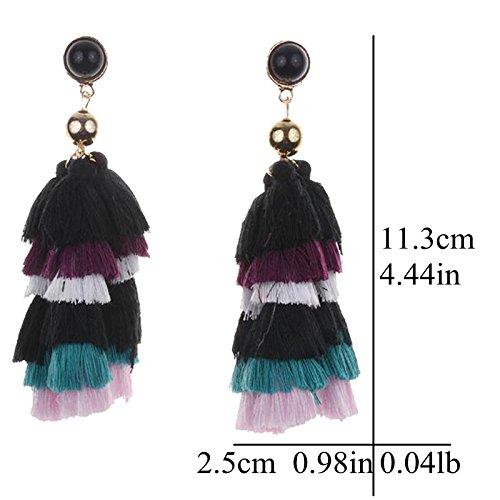 Fashion Bohemian Stud Hook Earrings Multi-color Layered Fringe Thread Tassel for Girls Women