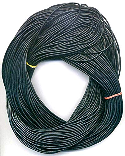 1.8 mm Black Leather Cord, 50 Meter Hank (55 Yards) Black Greek Leather Cord