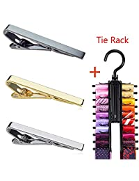 3 pcs Men's Skinny Tie Clip Set with Gold Silver Gray 3 Tone(2.1 Inches Tie Clip) and 1pcs Black Tie Rack