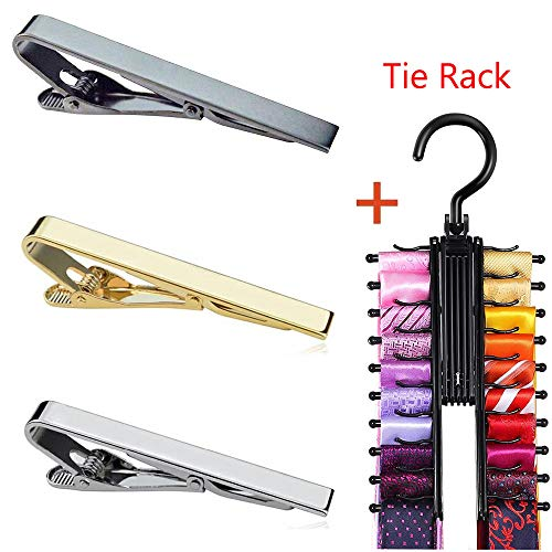 3pcs Tie Bar Clip for Men, Tie Tack Pins Tie Clips Men Silver Gold Black Necktie Bar Pinch Clip Set 2.2 inch Metal Clasps Business Professional Fashion Assorted Designs (Free Tie Rack) by MING KUO