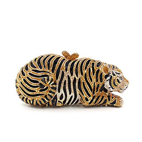 Tiger Clutch (Mini Tiger Clutch Purse Bling Rhinestone Clutch Evening Bag Handbag for Party Wedding Clubs)