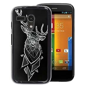 A-type Arte & diseño plástico duro Fundas Cover Cubre Hard Case Cover para Motorola Moto G 1 1ST Gen (Deer Polygon Art Black Abstract Art)