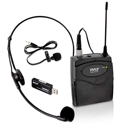 Pyle USB inalámbrico micrófono cinturón, con micrófono & lavalier oído micrófono con tarjeta de sonido