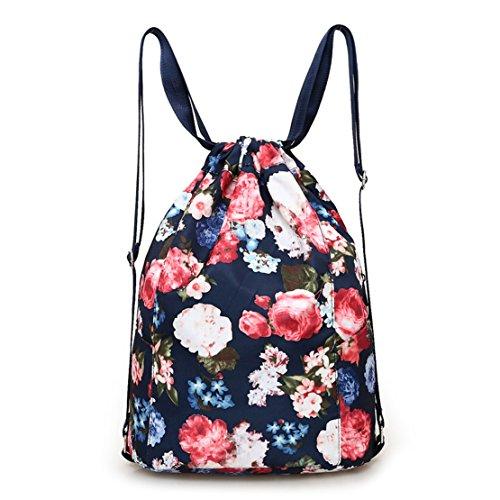 MORHUA Women Drawstring Bag Gymbag Drawstring Backpack Nylon Travel Sports Yoga Gym Drawstring Bag Gymsack Backpack (Pink)