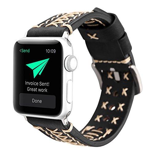 Bracelet Style Unisex Watch - YOSWAN Women Men iWatch Band Accessories, Unisex Luxury Leather Watchbands Unique Watch Replacement Sport Band Wrist Bracelet Strap for Apple Watches 38mm 42mm Series 1 2 3 (38mm Black)