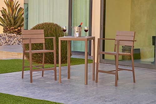 Suncrown Outdoor Steel & Polywood Bar Height Bistro Set (3-Piece Set) All Weather Steel Powder Coated Frame with Neutral Beige Water-Resistant Cushions & Polywood Coffee Table | Patio, Backyard, Pool