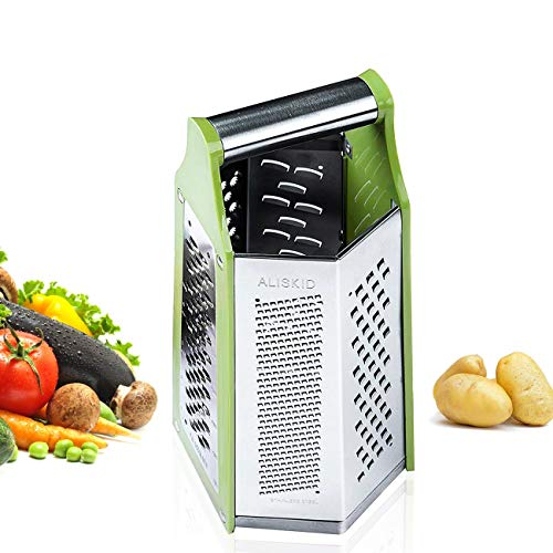 ALIKUGOU Boxed Grater, 6 Sided Cheese & Vegetable