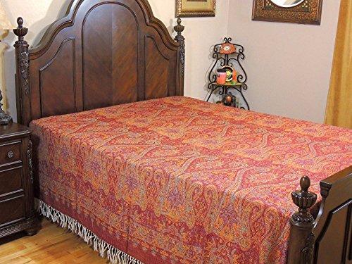 NovaHaat Burgundy Tangerine Kani Wool Bedding - Shalimar (world famous gardens of Kashmir) Jamawar Cashmere Woven Eclectic Reversible Bedspread Throw Blanket from India ~ Queen 108
