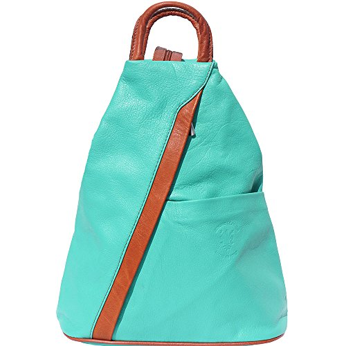 Backpack purse and shoulder bag 2061 Turquoise-tan